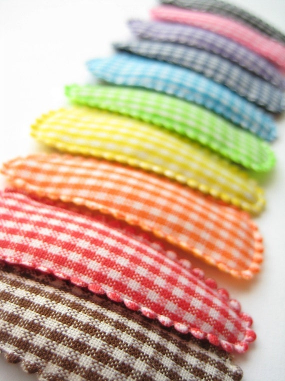 Gingham Snap Clips (Set of 10) - 2 inch snap clips