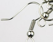 100 pcs of Antique Silver fish Hook with spring and ball Earwire - 19X17mm