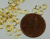 4mm Jump Rings, 200 Gold Plated Jump Rings Jumprings Open 4x0.6mm 22 Gauge 22G Link Connector Open Jump Rings - ship from California USA