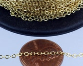 32 ft Gold Plated Chain - 2.4x1.7mm SOLDER Cable Chain - little Oval Flat Soldered Cable Chain - Bulk Wholesale Chain - from California USA