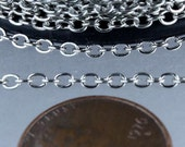 10 ft of Antiqued Silver SOLDERED Flat Round cable chain - 3x2mm - SOLDERED link