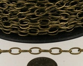 12 ft. Textured Antique Brass finished Drawn Oval Cable chain - 9x4.5mm unsoldered link