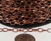 Antique Copper Chain Bulk Chain, 12 ft. of Antique Copper Finished Drawn Cable Chain - 6.3x3.5mm Unsoldered Link