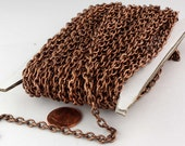 100 ft of Antiqued Copper Round Cable Sturdy Heavy Chain 4X5mm 18Gauge - unsoldered Links