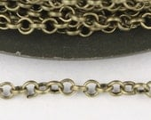 Antique Brass Rolo Chain bulk Chain, 32 ft of Rolo Bronze Cable Chain 2.5mm - Unsoldered Links - Necklace Bracelet Wholesale Bulk Jewelry