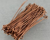 100 Antiqued Copper Eyepins Eye Pins Headpins - 2 inch (50mm) 21 Gauge 21G