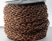 Antique Copper Chain bulk chain, 32 ft. of Antique Copper Plated Texture Drawn Cable Chain - 6.3x3.5mm Unsoldered Link