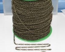 Antique Bronze Figaro Chain Bulk, 3 ft Brass FIGARO chain 7x3mm Links - Necklace Bracelet Wholesale Chain -Ship from California USA