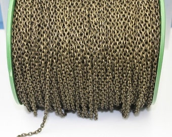 32 feet Antiqued Brass Drawn Cable chain - 4X3mm Unsoldered link - Sturdy Link