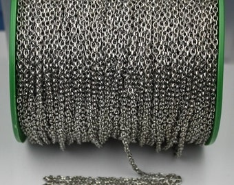 Rhodium Plated Drawn Chain Bulk, 32 ft spool of Antique Silver DRAWN cable chain 4X3mm - unsoldered link,Bulk Necklace Chain