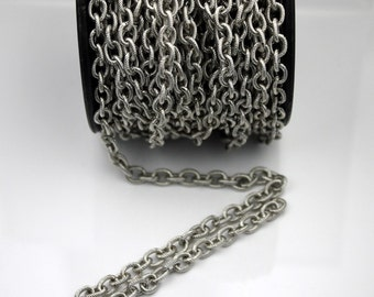 10 ft of Antique Silver finished oval texture cable chain - 8x6mm - soldered link