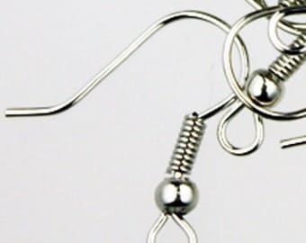 300 pcs of Antique Silver fish Hook with spring and ball Earwire 19X17mm