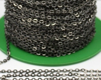 32 ft spool of Gunmetal Flat Soldered Cable Chain 3.4x2.9mm