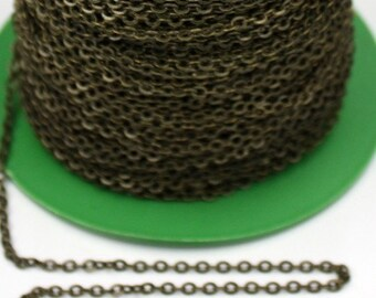 32 ft Antique Brass Flat Cable Chain - 3.4x2.9mm SOLDERED Link - Antique Bronze Bulk Flat Soldered Cable Chain - ship from California USA