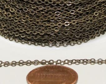 32 ft Antique Brass Chain - 2.4x1.7mm SOLDER Chain - Antique Bronze little Oval Flat Soldered Cable Chain - Bulk Wholesale Chain - from USA