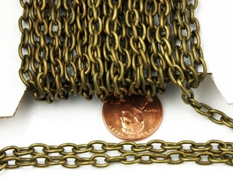 32 ft of Antiqued brass cable chain - 6x4mm unsoldered links