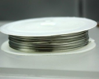 1 Roll 27 ft. Antique Silver plated on Copper Beading Wire - 24GA 0.5mm dia.