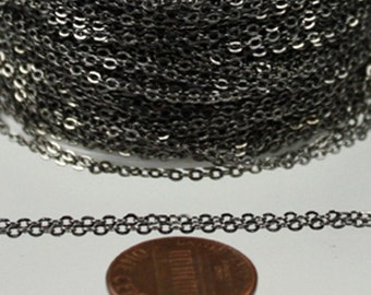 32 ft Gunmetal Chain - 2.4x1.7mm SOLDER Cable Chain - little Oval Flat Soldered Cable Chain - Bulk Wholesale Chain - from USA