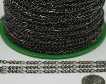 Gunmetal Figaro Chain Bulk, 300 ft Long and Short Mother and Son Chain FIGARO chain 7x3mm - Necklace Bracelet Wholesale Chain -Ship from USA