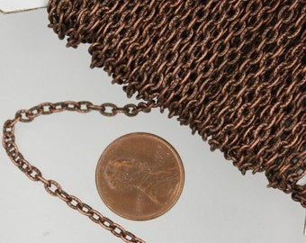 Antique Copper Texture Chain Bulk, 100 ft. of Flat Texture Oval Chunky Cable Chain - 3x2mm Unsoldered - Necklace Bracelet Chain