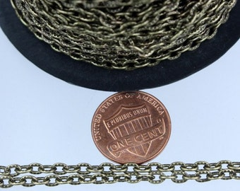 SALE Sale 50 ft of Antique Brass finished Textured Cable Chain - 4X3mm unsoldered link
