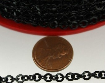 5ft of Black Flat round cable chain - 4.1mm - unsoldered Links