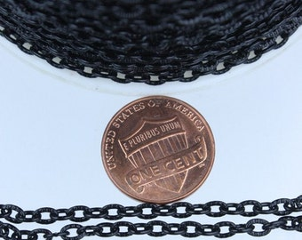 Wholsale Lot 300ft of Black finished Textured Cable Chain - 4X3mm unsoldered link - Ship from California USA