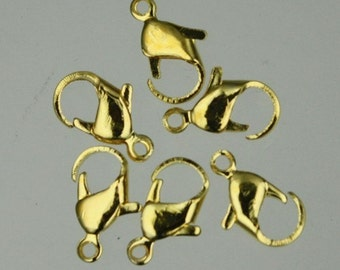 50 pcs of Gold Plated over iron lobster claw clasp 12mm
