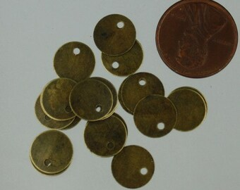 100 pcs of Antique Brass Finished Coin drop 10mm
