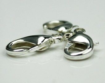 100 pcs of Silver Plated lobster claw brass clasp 12X7mm