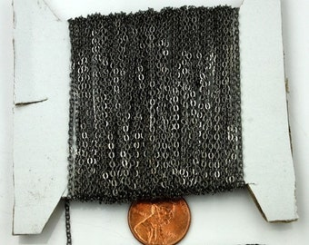 12 ft Gunmetal Chain - 2.4x1.7mm SOLDER Cable Chain - little Oval Flat Soldered Cable Chain - Bulk Wholesale Chain - from USA