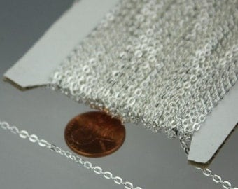 SALE Sale 50 ft spool of Silver Plated Flat Round cable chain - 3x2.2mm - unsoldered link
