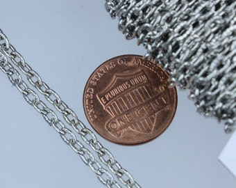 Rhodium Plated Texture Chain Bulk, 50 ft. of Antique Silver Flat Texture Oval Chunky Cable Chain - 4x3mm Unsoldered- Necklace Bracelet Chain