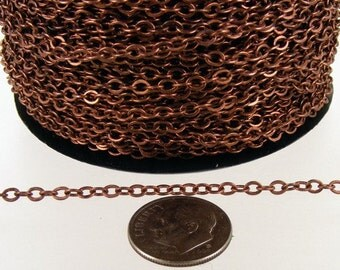 Antique Copper Chain Bulk Chain, 32 ft spool of Antique Copper finished  Brass Flat Soldered Cable Chain 3.4x2.9mm