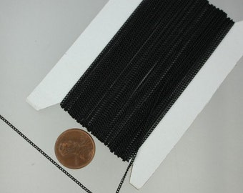 5 ft spool of Black Finished over brass tiny curb chain - 1.3mm soldered link
