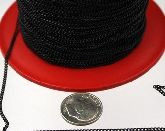 32 ft Black tiny curb chain - 1.3mm soldered link