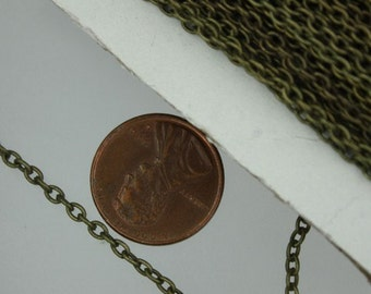 SALE Sale 300 ft of Antiqued Brass finished Round Cable Chain - 3x2mm - Unsoldered Links