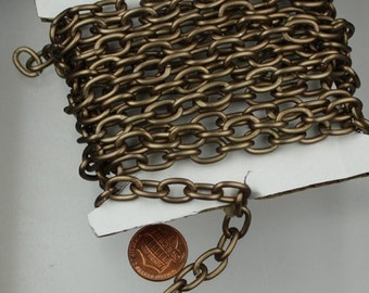 10 ft of Antique Brass Aluminum Light Big Cable Chain - 12.5x9mm Unsoldered Link