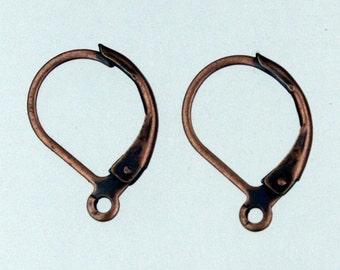 50 Antique Copper Leverback Earrings earwire - 10X16mm