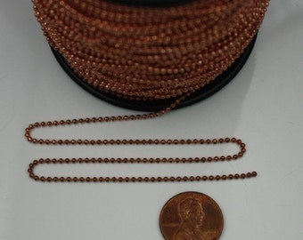 Copper Plated facet BALL Chain - 10 ft. spool of Bulk Ball chain Necklace Bracelet Wholesale - 1.5mm w/ FREE 10 connectors (Insert)