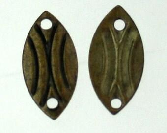 30 pcs of antiqued brass finished filigree leaf link drops 11.5x6mm