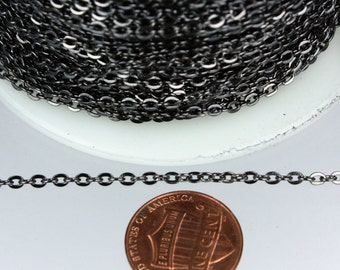 32 ft spool of Gunmetal Finished Flat Round cable chain - 3x2.2mm - unsoldered link
