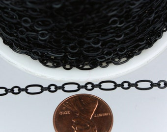 Black Chain Bulk Chain, 10 ft of ( 3 and 1 ) Long and Short Chain Flat Cable Chain Necklace Chain 6.3 N 4mm - SOLDERED Chain