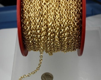 Gold Plated Rolo Chain bulk, 100 ft spool of ROLO cable chain - 4.7mm Unsoldered Links - Necklace Bracelet Wholesale Bulk Jewerly Chain