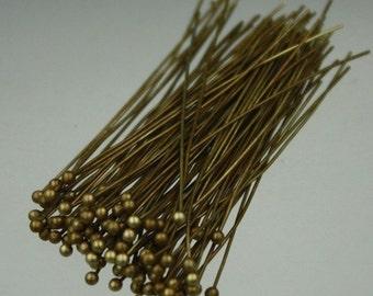 100 pcs Antique Brass Ball headpins Bronze - 2 inch (50mm), 24 Gauge 24G 1.8mm Ball - from California USA