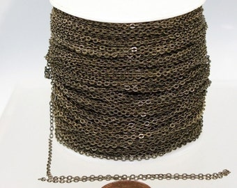 1000 ft Antique Bronze Chain - 2.4x1.7mm SOLDER - Antique Brass little Oval Flat Soldered Cable Chain - Bulk Wholesale Chain - from USA