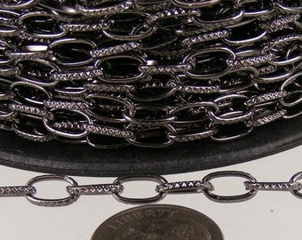 12 ft. Textured Gunmetal finished Drawn Oval Cable chain - 9x4.5mm unsoldered link