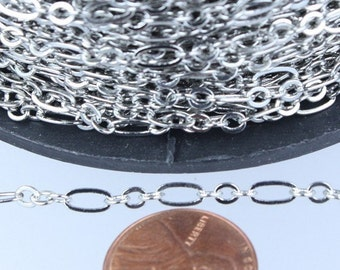 Rhodium Chain Bulk, 32 ft of ( 3 and 1 ) Antique Silver Long and Short Chain Flat Cable Chain Necklace Chain 6.3 N 4mm - SOLDERED Chain