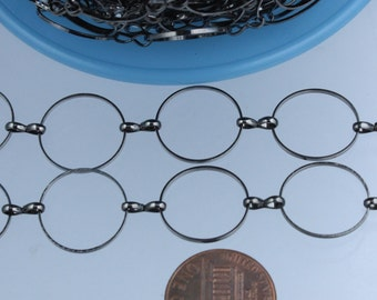 5 ft. of Gunmetal finished on Brass BIG circle Quick Links Chain - 15mm