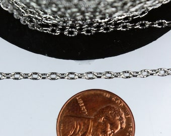 Rhodium Texture Chain Bulk, 300 ft. of Antique Silver Flat Texture Oval Chunky Cable Chain - 3x2mm Unsoldered - Necklace Bracelet Chain